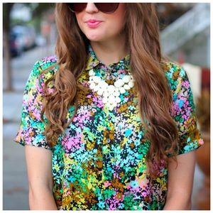 j. crew // technicolor floral print silk blouse